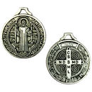 Silver St Benedict Medal Pendant in Pewter Medium