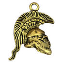 Trojan Helmet Pendant 3D in Gold Pewter Large