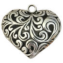 Silver Filigree Heart Pendant in Pewter