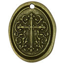Oval Bronze Cross Medallion Pendant in Pewter