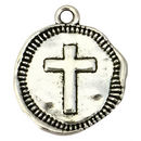 Hammered Cross Charm Silver Medallion Necklace in Pewter