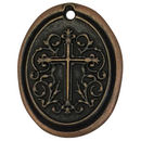 Oval Copper Cross Medallion Pendant in Pewter