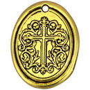 Oval Medallion Gold Cross Pendant in Pewter
