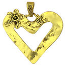 Gold Open Heart Pendant in Pewter