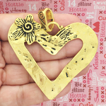 Gold Open Heart Pendants Wholesale in Pewter