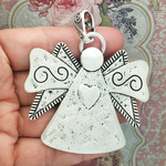 Silver Angel Pendant with Heart in Pewter