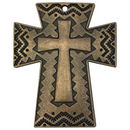 Southwest Cross Pendant with in Copper Pewter Large