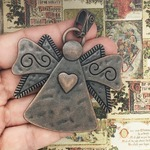 Copper Angel Pendant with Heart in Pewter
