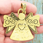 Gold Angel Pendant with Heart in Pewter
