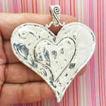 Silver Hammered Heart Pendant in Pewter