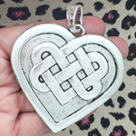 Silver Celtic Heart Knot Pendant in Pewter