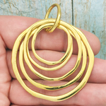Hammered Gold Circle Pendant Necklace in Pewter