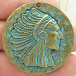 Gold Indian Chief Pendant in Pewter