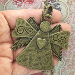 Bronze Angel Pendant with Heart in Pewter