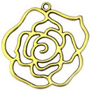 Cutout Gold Rose Flower Pendant in Pewter