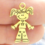 Girl Charm Pendant in Gold Pewter with Heart Accents