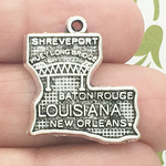 Silver Louisiana Charm in Pewter with Map