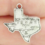 Silver Texas Charms Wholesale with Map in Pewter