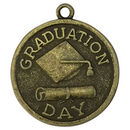 Graduation Charm with Graduation Cap and Diploma in Bronze Pewter