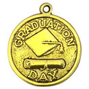 Gold Graduation Charm with Graduation Cap and Diploma in Pewter