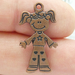 Little Girl Charm Pendant in Copper Pewter