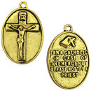 Gold I am Catholic Call a Priest Medal with Crucifix