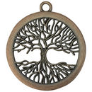 Copper Tree Pendant Disk in Pewter