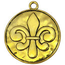 Hammered Gold Fleur De Lis Pendant Necklace in Pewter