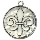 Hammered Silver Fleur De Lis Pendant Necklace in Pewter