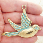 Gold Bird Pendant Necklace in Antique Pewter
