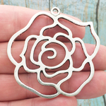 Cutout Silver Rose Pendant Necklace in Pewter