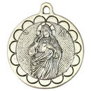 Sacred Heart of Jesus Medal Pendant in Silver Pewter