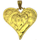 Gold Hammered Heart Pendant in Pewter
