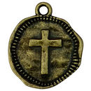 Bronze Cross Medallion Pendant in Pewter