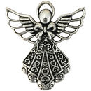 Silver Angel Charm Pendant in Pewter with Ornate Dress
