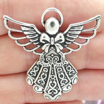 Angel Charms in Bulk Silver Pewter with Ornate Dress