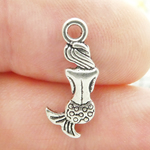 Silver Mermaid Charm in Pewter Tiny