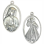 St Faustina Medal in Silver Pewter