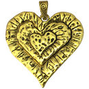 Gold Hammered Heart Pendant Necklace in Pewter