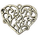 Silver Fligree Heart Pendant in Pewter Large