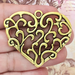Gold Filigree Heart Pendant in Pewter