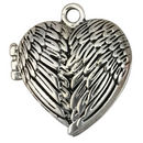 Silver Heart Locket Necklace with Magnetic Clasp in Pewter