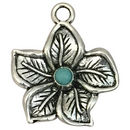 Silver Hibiscus Flower Charm with Turquoise in Pewter