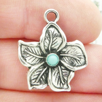 Silver Hibiscus Flower Charms Wholesale with Turquoise in Pewter