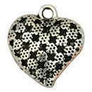 Silver Puffed Heart Pendant in Pewter