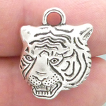 Tiger Charms Wholesale in Silver Pewter Small
