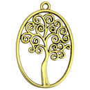 Oval Gold Tree of Life Charm Pendant in Pewter