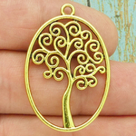 Tree of Life Charm Gold Pewter Oval