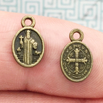 Oval Bronze St Benedict Medal Charm in Pewter
