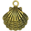 Gold Sea Shell Charm Pendant Large in Pewter